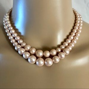 Vintage pink pearl double necklace